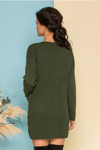 Rochie Erica verde din tricot cu buzunare in fata