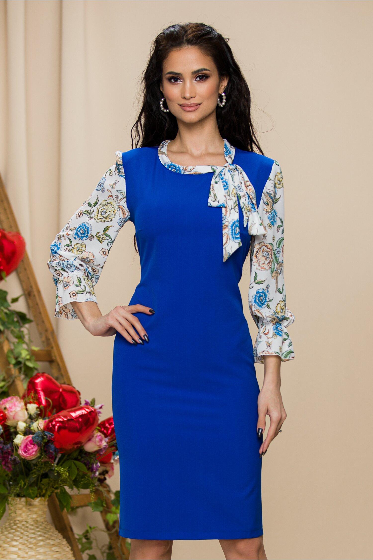 Rochie Erika albastra cu maneci si guler albe cu imprimeu floral