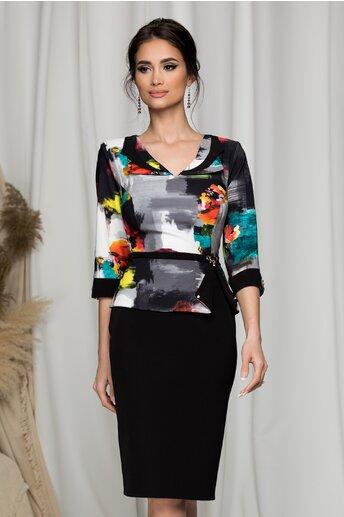 Rochie Ermin neagra cu imprimeu abstract colorat