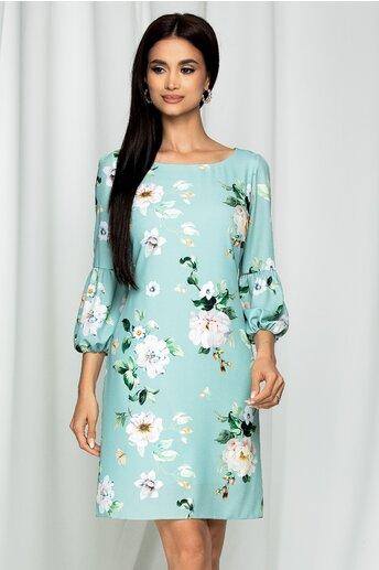 Rochie Ermina verde mint cu imprimeu floral