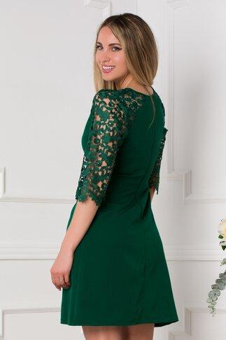 Rochie Esme verde cu maneci trei sferturi din dantela