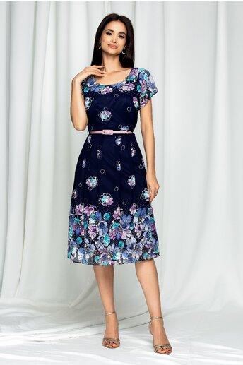 Rochie Esmeralda bleumarin cu imprimeu floral