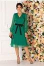 Rochie Estefania verde cu cordon negru in talie