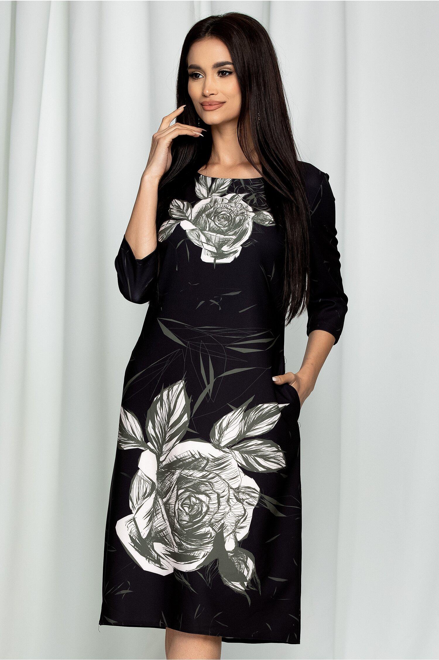 Rochie Ester neagra cu imprimeu floral alb