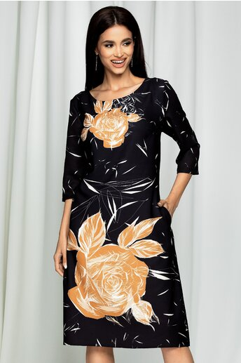Rochie Ester neagra cu imprimeu floral bej