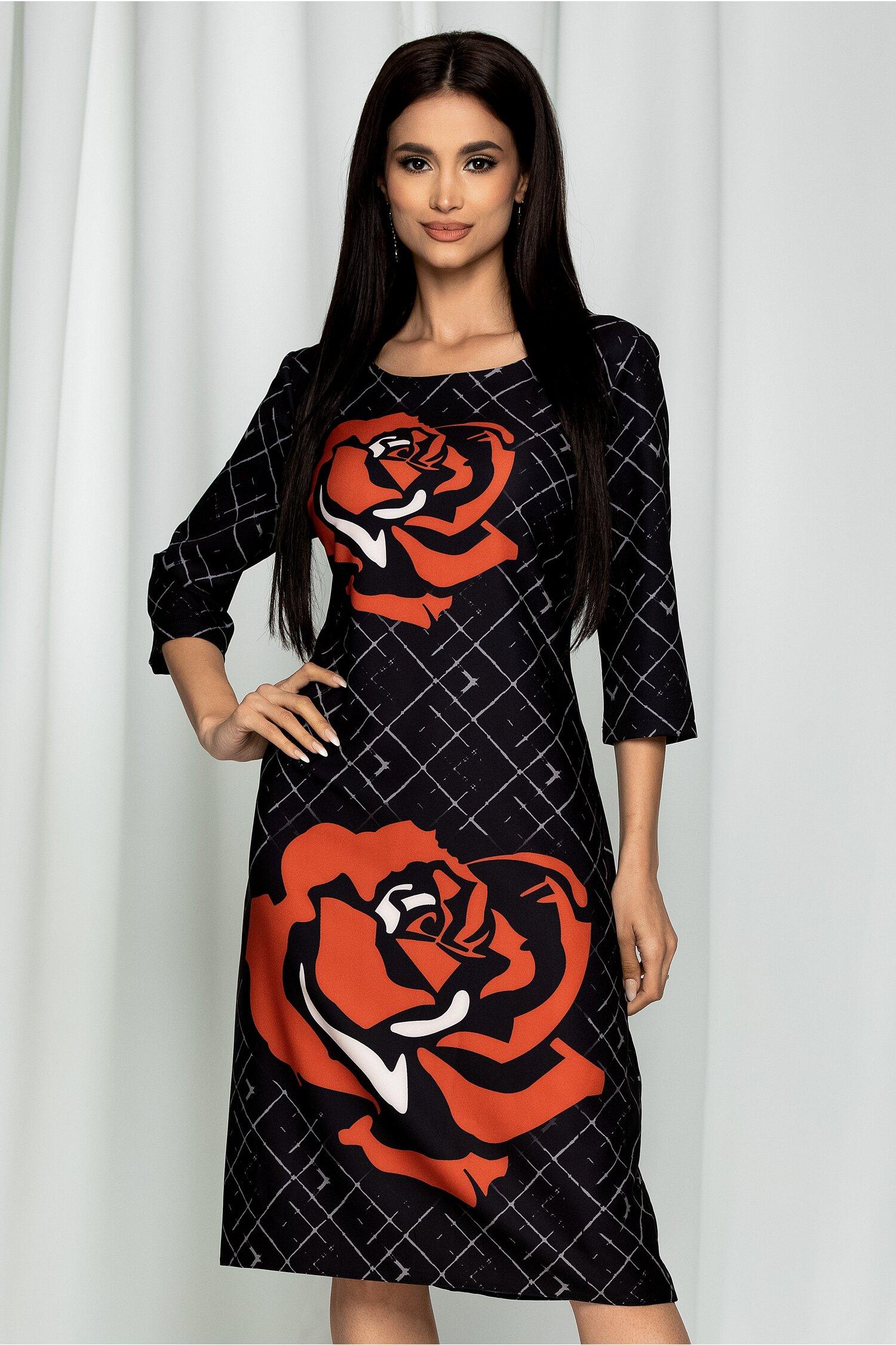 Rochie Ester neagra cu imprimeu floral caramiziu