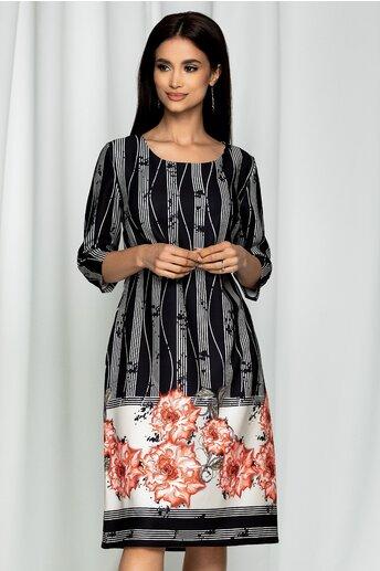 Rochie Ester neagra cu imprimeu floral corai si dungi