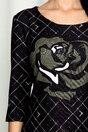 Rochie Ester neagra cu imprimeu floral kaki