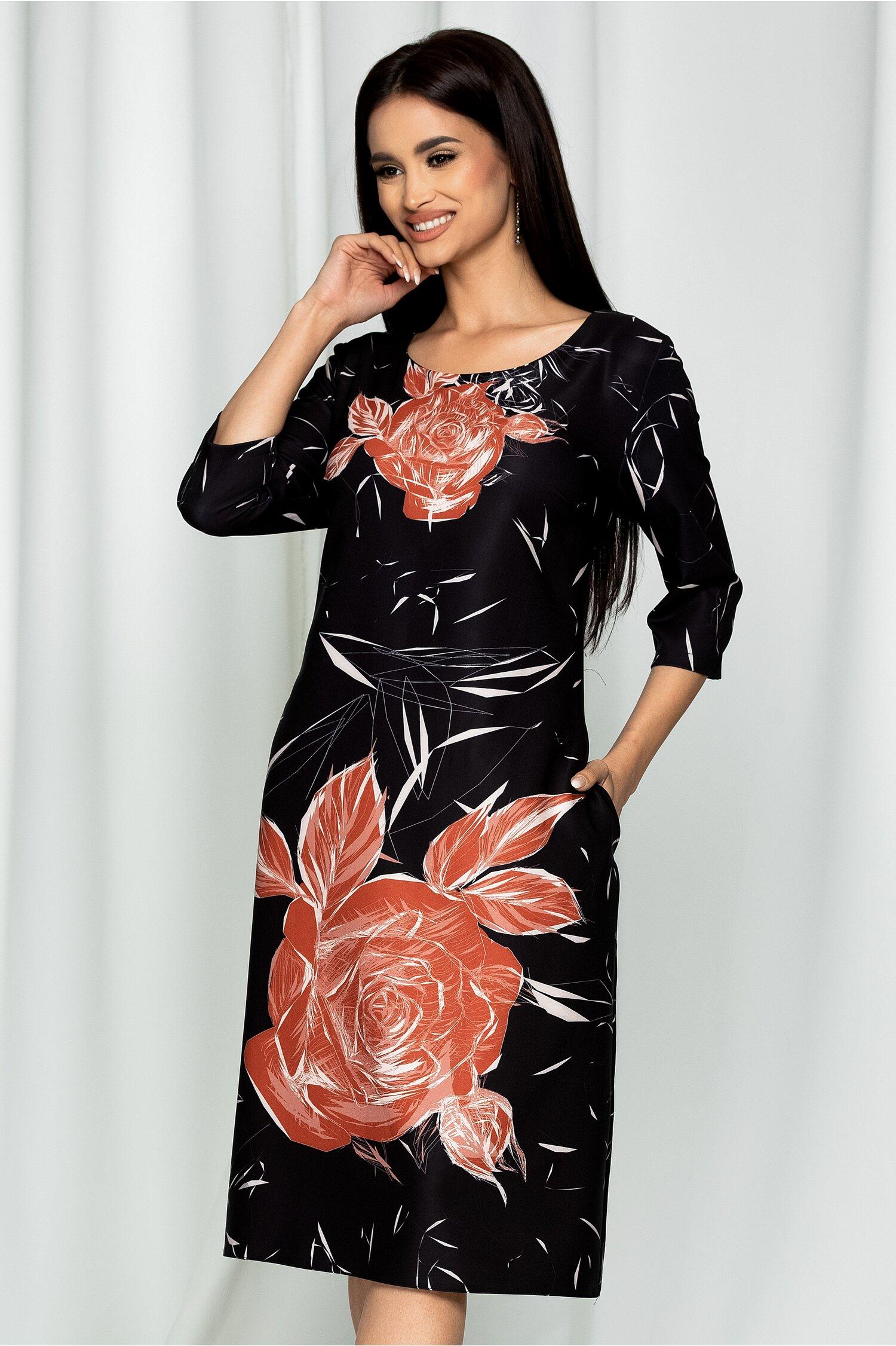 Rochie Ester neagra cu imprimeu floral maro