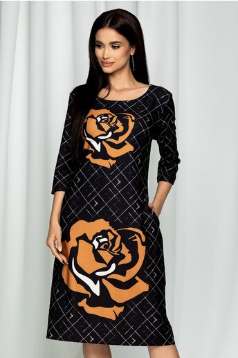 Rochie Ester neagra cu imprimeu floral maro deschis