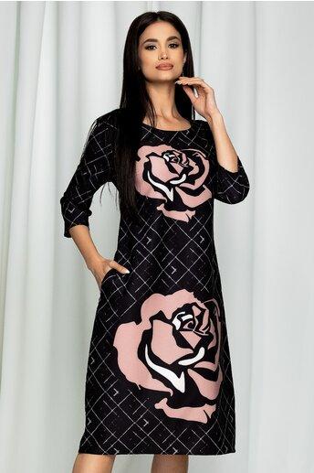 Rochie Ester neagra cu imprimeu floral roz prafuit