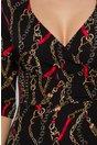Rochie Etta neagra cu decolteu petrecut si imprimeu divers auriu-rosu
