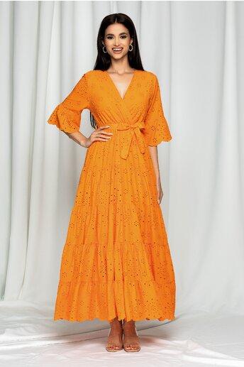 Rochie Eudoxia portocalie cu decolteu petrecut in v si perforatii brodate