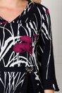 Rochie Eva bleumarin cu peplum si imprimeu floral mov