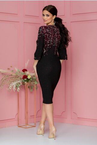 Rochie Eva neagra cu peplum si imprimeuri florale bordo