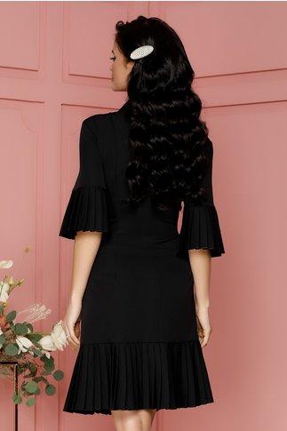 Rochie Eva neagra cu volane plisate design petrecut cu nasturi