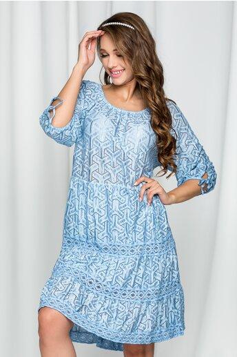 Rochie Evangelina bleu cu maneci trei sferturi si elastic la decolteu