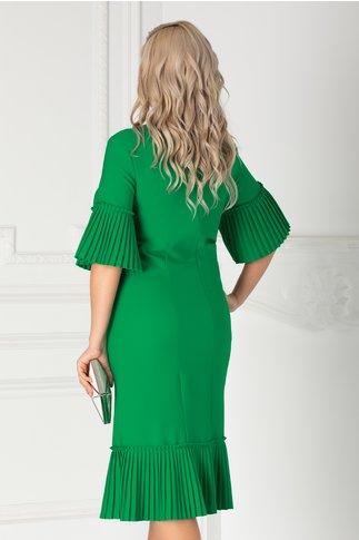 Rochie Eveline verde cu volane plisate