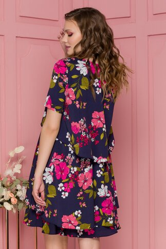 Rochie Fabi vaporoasa bleumarin cu imprimeuri florale