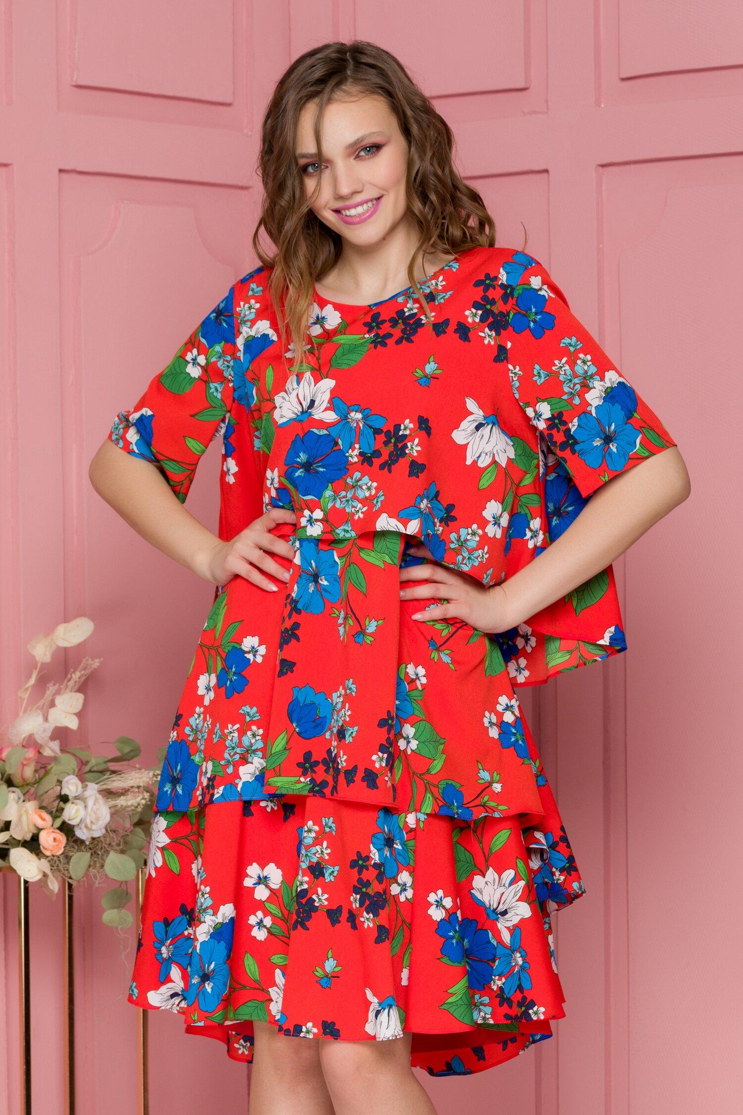 Rochie Fabi vaporoasa corai cu imprimeuri florale