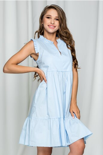 Rochie Fabia bleu din poplin acesorizata cu volanase