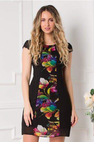 Rochie Fabia neagra cu imprimeu floral multicolor