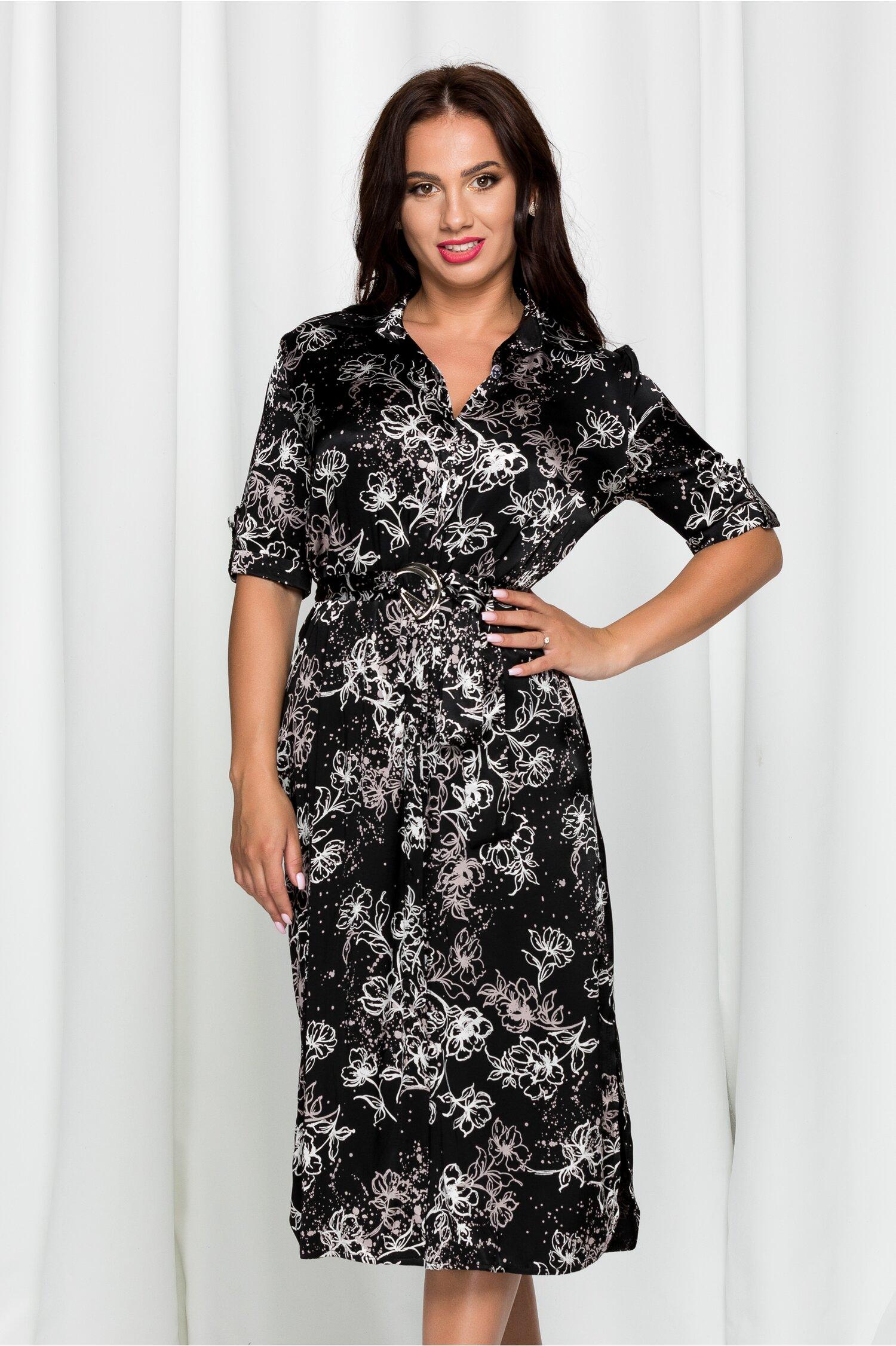 Rochie Fabia neagra tip camasa din material satinat cu imprimeu floral bej