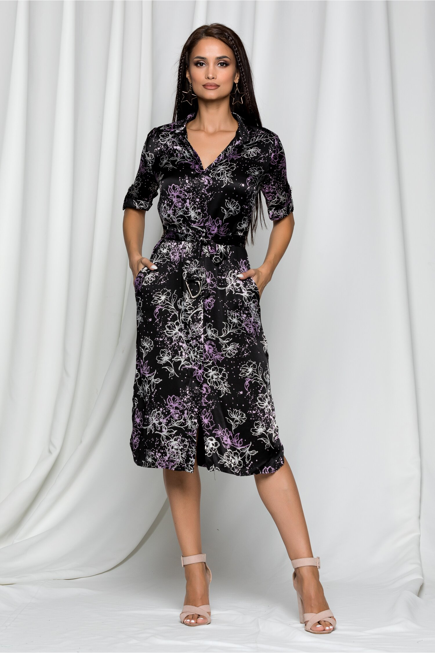Rochie Fabia neagra tip camasa din material satinat cu imprimeu floral mov