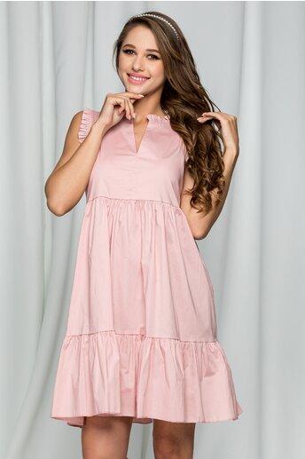 Rochie Fabia roz din poplin acesorizata cu volanase