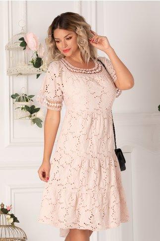 Rochie Fabia roz pal cu perforatii pe fata