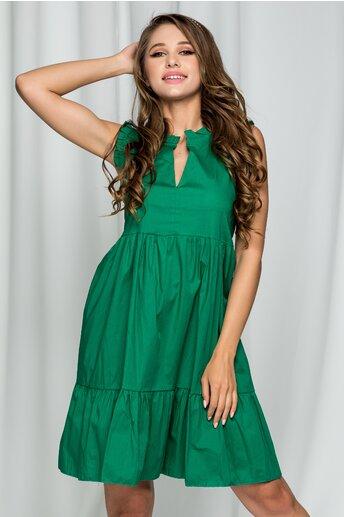 Rochie Fabia verde inchis din poplin acesorizata cu volanase