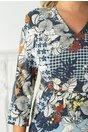 Rochie Fabiana albastra cu imprimeuri diverse
