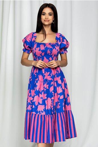 Rochie Fabiona albastra cu imprimeu roz