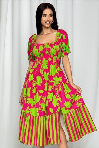 Rochie Fabiona fuchsia cu imprimeu verde