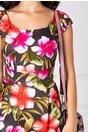 Rochie Fairy de zi maro cu flori mari corai-fucsia