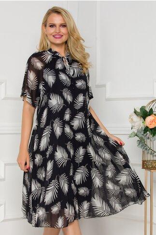 Rochie Fancy neagra cu imprimeuri albe