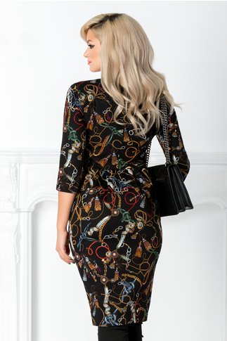 Rochie Fancy neagra stil sacou cu imprimeu colorat