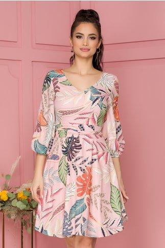 Rochie Fanny roz cu imprimeu floral viu colorat si insertii din dantela pe maneca
