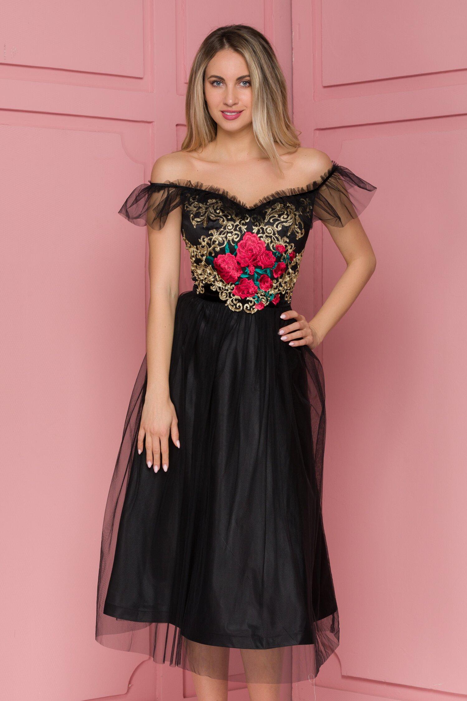 Rochie FanyLux neagra din tull cu broderie florala la bust