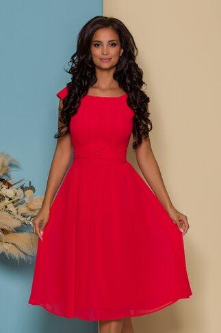 Rochie FanyLux rosie cu pliuri la bust