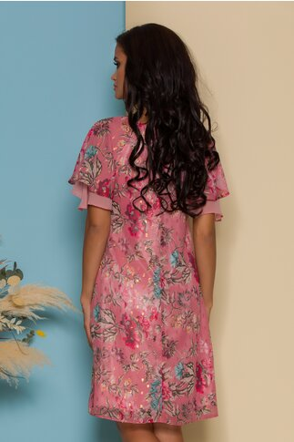 Rochie FanyLux roz cu imprimeuri florale si volanase la maneci