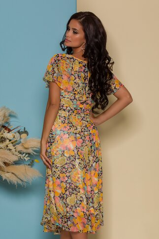 Rochie FanyLux vaporoasa cu imprimeuri florale colorate