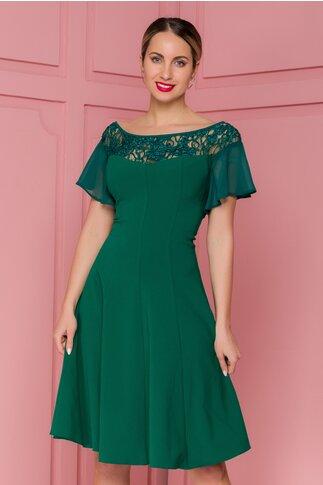 Rochie FanyLux verde cu broderie florala si paiete la bust