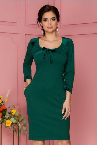 Rochie FanyLux verde cu insertii din catifea