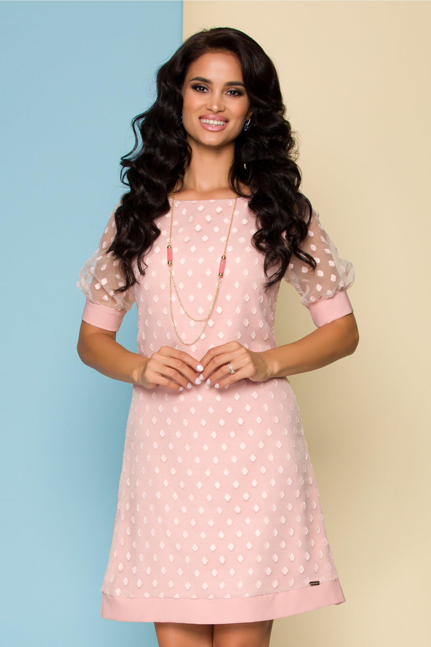 Rochie Farma roz cu organza pe fata si motive geometrice