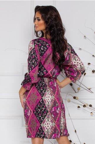 Rochie Fatima neagra plisata cu imprimeu floral tip mandala fucsia