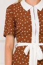 Rochie Feli maro cu imprimeu cu buline albe