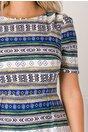Rochie Felida albastra cu imprimeuri geometrice