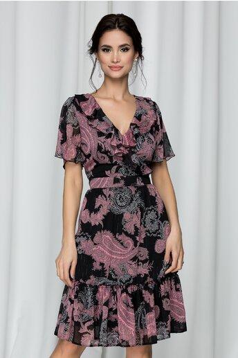 Rochie Felly neagra cu imprimeu floral roz si insertii stralucitoare