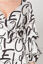 Rochie Fely alba cu imprimeu abstract